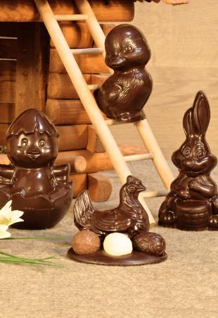 Figurines creuses en chocolat